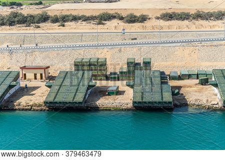 Ismailia, Egypt - November 14, 2019: Pontoons Bridge For Crossing The Suez Canal Lie On The Shore Of