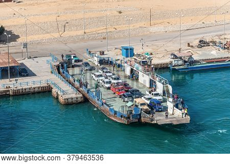 Ismailia, Egypt - November 14, 2019: Sarrabum Ferry Boat Line Landing Stage East-channel West Side O