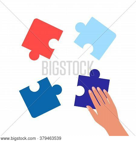 Human Hand Connects Pieces Of Puzzle. Combining Or Separating Parts Of Whole. System Elements, Solvi