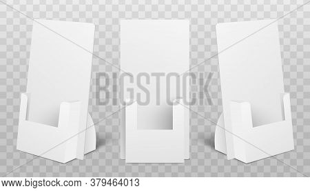 Set Of Holder Boxes For Pos Poi Realistic Mockup Vector Illustration Isolated.