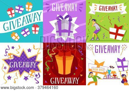 Giveaway Promotion Poster Set. Free Gift Or Special Offer Flyer Collection