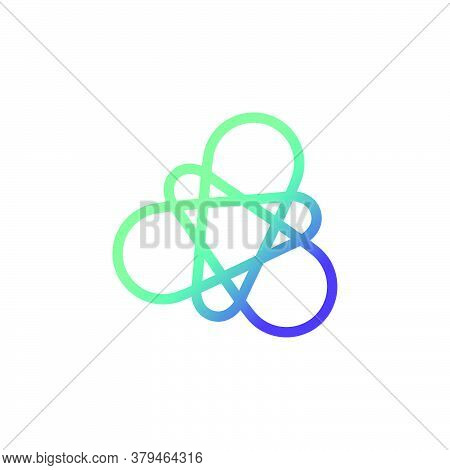 Abstract Molecular And Atomic Shape Logo. Modern, Clean, And Professional. Suitable For Pharmacy, Bi