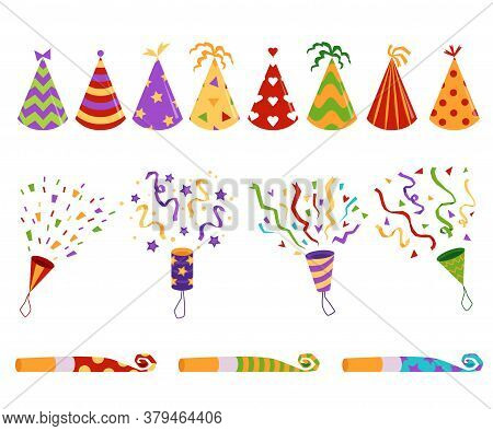 Birthday Party Hats, Blowers And Confetti Flat Vector Illustrations Set Isolated.