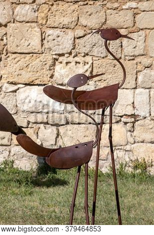 Saint Emilion, France - September 8, 2018: Contemporary Art, An Outdoor Metalwork Exhibition In Sain