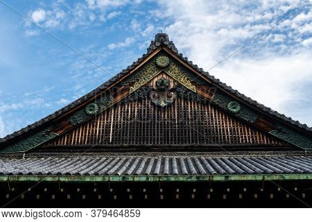 Nijo Castle Wooden Carved Decorated Roof In Kyoto, Japan. It Is One Of The Seventeen Historic Monume