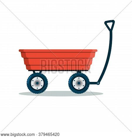 Garden Cart, Wheelbarrow, Wagon, Hand Trolley Icon. Isolated On A White Background. Vector Illustrat