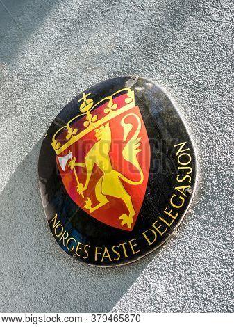 Strasbourg, France - Mar 30, 2020: Norges Faste Delegasjon Translated As Permanent Mission Of Norway