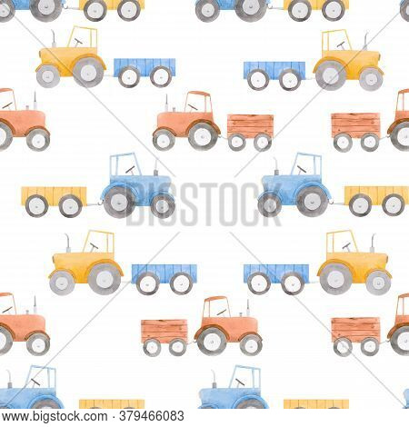 Beautiful Seamless Pattern With Watercolor Colorful Tractors. Stock Illustration.