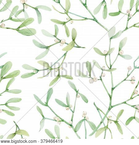 Beautiful Seamless Pattern With Watercolor Mistletoe Plant Leaves. Stock Illustraqtion.