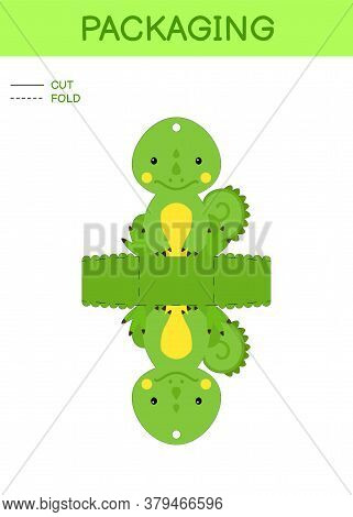 Diy Party Favor Box Die Cut Template Design For Birthdays, Baby Showers With Cute Iguana For Sweets,