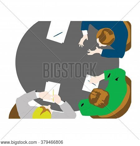 Business Meeting, Brainstorming In Flat Style Isolated On A White Background In Eps10