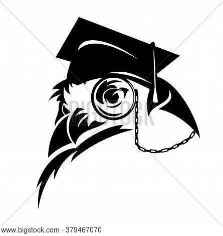 Wise Professor Owl Wearing Eye Glass And Mortarboard Cap - Academic Education Black And White Vector