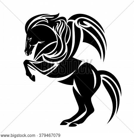 Standing Pegasus Design - Mythical Winged Horse Rearing Up Black And White Vector Outline