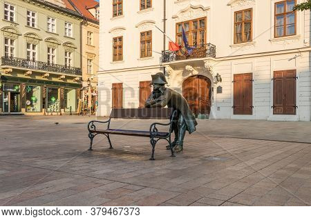 Napoleon Bronze Statue In Front Of The French Embassy On Main Square In Bratislava