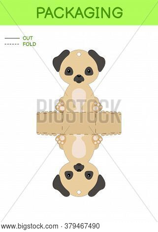 Diy Party Favor Box Die Cut Template Design For Birthdays, Baby Showers With Cute Pug Dog For Sweets