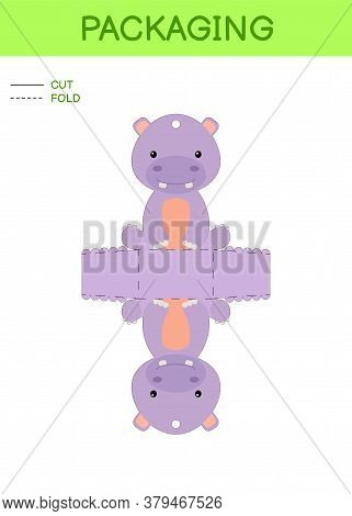 Diy Party Favor Box Die Cut Template Design For Birthdays, Baby Showers With Cute Hippo For Sweets,