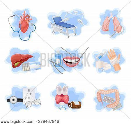 Medical Supplies And Internal Organs Vector Composition Set