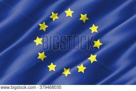 Silk Wavy Flag Of European Union Graphic. Wavy Europe Flag 3d Illustration. Rippled European Union C