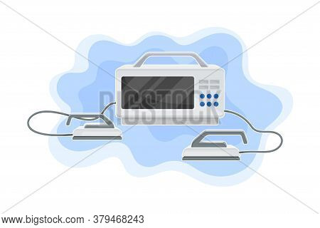 Defibrillator As Life Saving Device With Monitor Vector Illustration