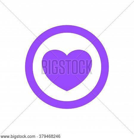 Heart Shape Icon Simple In Circle Purple, Heart Symbol For Button Graphic, Passion Or Romantic Icon,