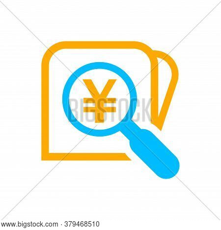 Magnifying Glass With Yen Currency Money Search Icon, Yen Coin With Magnifying Glass For Button App,