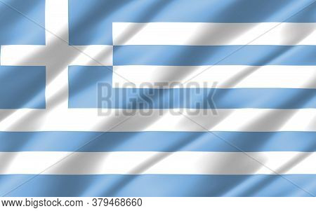 Silk Wavy Flag Of Greece Graphic. Wavy Greek Flag 3d Illustration. Rippled Greece Country Flag Is A