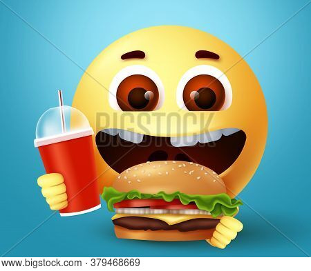 Emoji Happy Eating Fast Food Burger Character Vector Design. Emoticon With Happy And Excited Facial