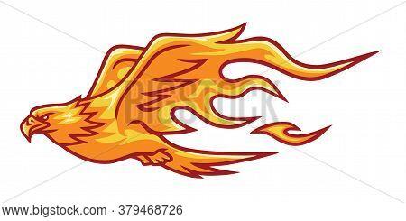 Fire Eagle Phoenix Falcon Head Flame Logo Vector Template Design