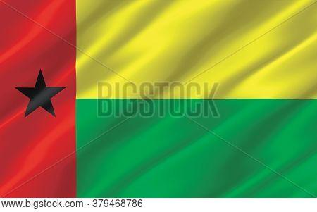 Silk Wavy Flag Of Guinea-bissau Graphic. Wavy Guinean Flag 3d Illustration. Rippled Guinea-bissau Co