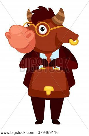 Animal Character In Formal Clothes, Bull Worker With Briefcase