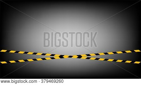 Caution Tape Line Yellow Black Stripe Pattern On Black Gradient Background, Warning Space With Ribbo