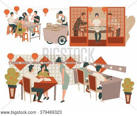 Chinese Restaurant Customers And Waitress, Eatery Or Luxurious Diner