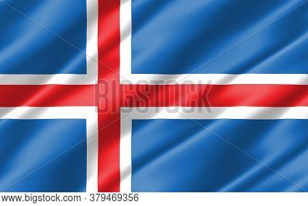 Silk Wavy Flag Of Iceland Graphic. Wavy Icelander Flag 3d Illustration. Rippled Iceland Country Flag