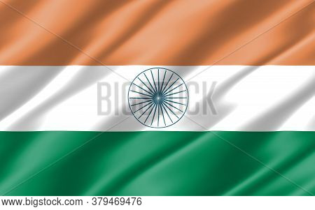 Silk Wavy Flag Of India Graphic. Wavy Indian Flag 3d Illustration. Rippled India Country Flag Is A S