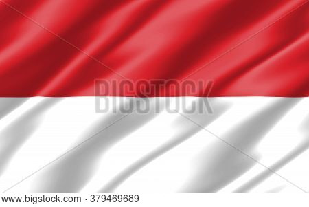Silk Wavy Flag Of Indonesia Graphic. Wavy Indonesian Flag 3d Illustration. Rippled Indonesia Country