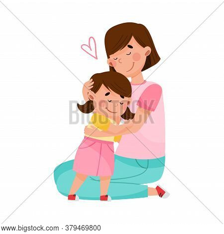 Young Woman Embracing Her Little Daughter Vector Illustration