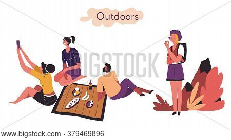 Extrovert And Introvert Comparison Of Activities Outdoors Vector