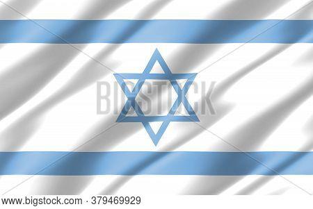 Silk Wavy Flag Of Israel Graphic. Wavy Israeli Flag 3d Illustration. Rippled Israel Country Flag Is