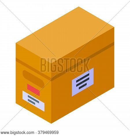 Archive Box Storage Document Icon. Isometric Of Archive Box Storage Document Vector Icon For Web Des