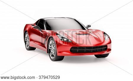 Front View Of A Red Sports Suv Car Isolated On White Background. 3d Illustration And 3d Render Of Mo