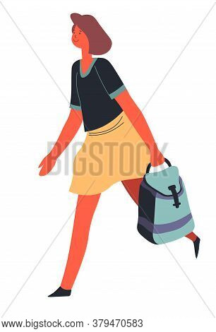 Woman With Satchel Hurrying, Student Or Teacher Vector
