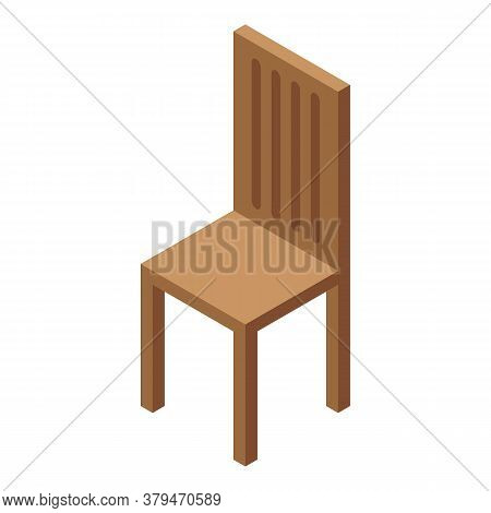 Kitchen Wood Chair Icon. Isometric Of Kitchen Wood Chair Vector Icon For Web Design Isolated On Whit