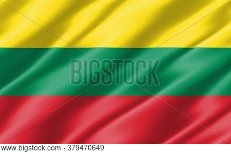 Silk Wavy Flag Of Lithuania Graphic. Wavy Lithuanian Flag 3d Illustration. Rippled Lithuania Country