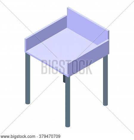 Wood White Chair Icon. Isometric Of Wood White Chair Vector Icon For Web Design Isolated On White Ba
