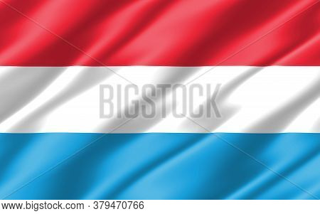 Silk Wavy Flag Of Luxembourg Graphic. Wavy Luxembourger Flag 3d Illustration. Rippled Luxembourg Cou
