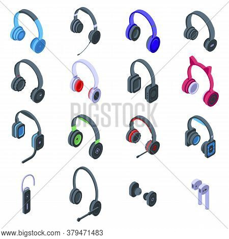 Headset Icons Set. Isometric Set Of Headset Vector Icons For Web Design Isolated On White Background