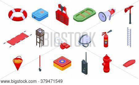 Rescuer Icons Set. Isometric Set Of Rescuer Vector Icons For Web Design Isolated On White Background