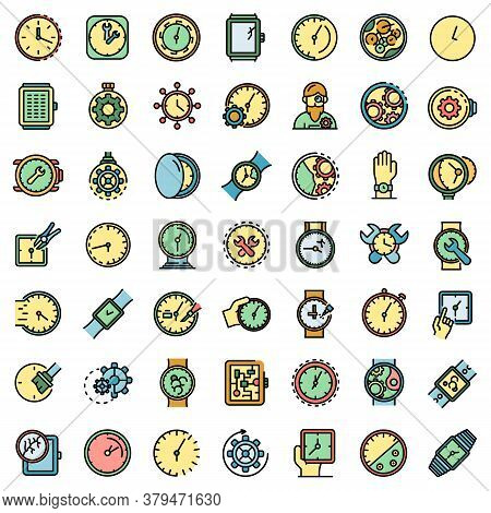 Watch Repair Icons Set. Outline Set Of Watch Repair Vector Icons Thin Line Color Flat On White