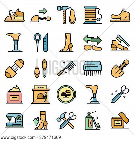 Shoe Repair Icons Set. Outline Set Of Shoe Repair Vector Icons Thin Line Color Flat On White