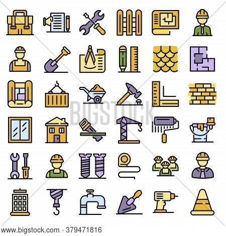 Contractor Icons Set. Outline Set Of Contractor Vector Icons Thin Line Color Flat On White